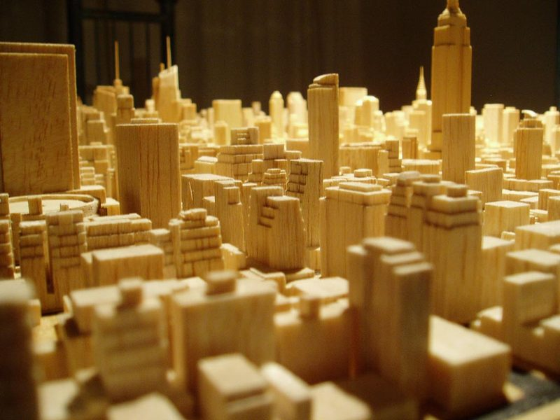 Amazing Detailed Carved Model Of Midtown Manhattan By