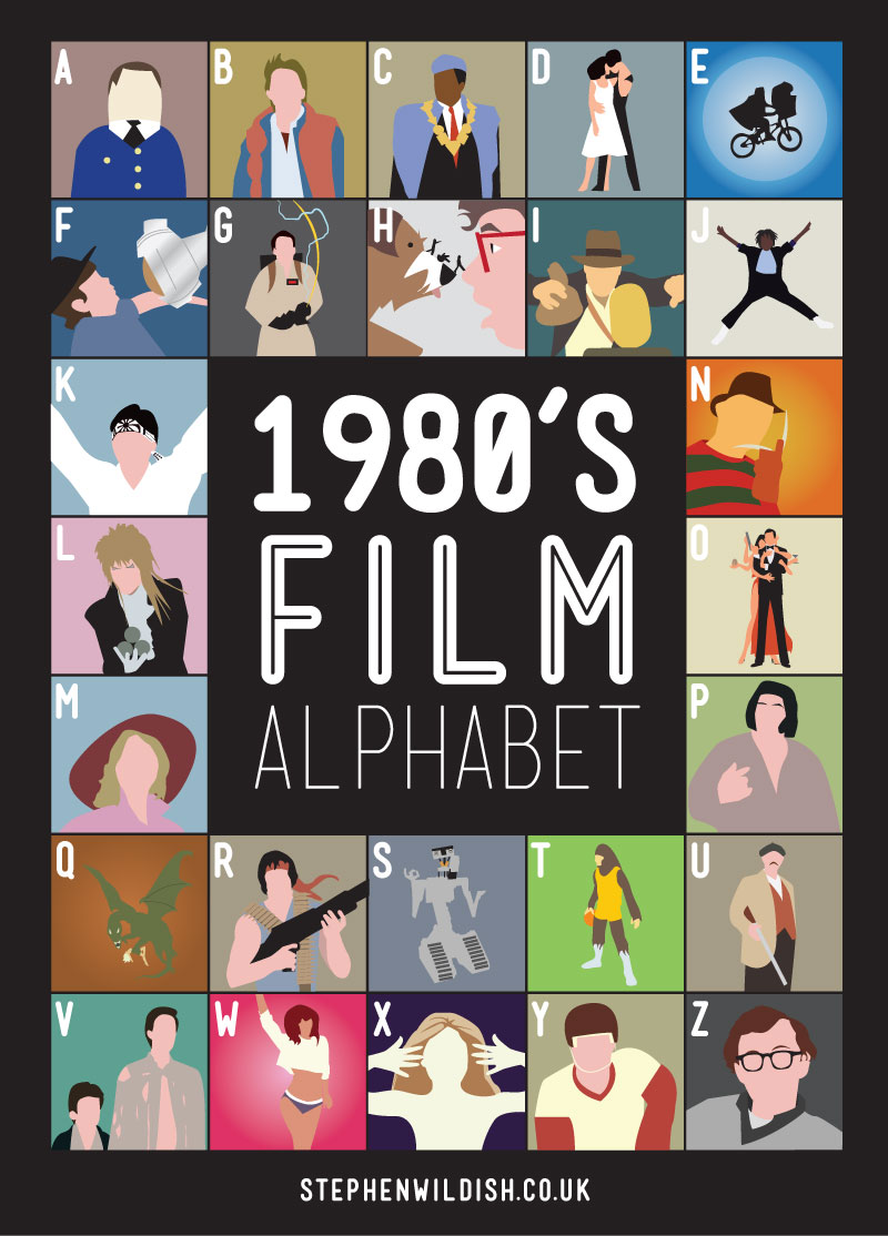 movies that start with the letter e 1980 s alphabet poster that quizzes your 1980s 12239 | 80 large