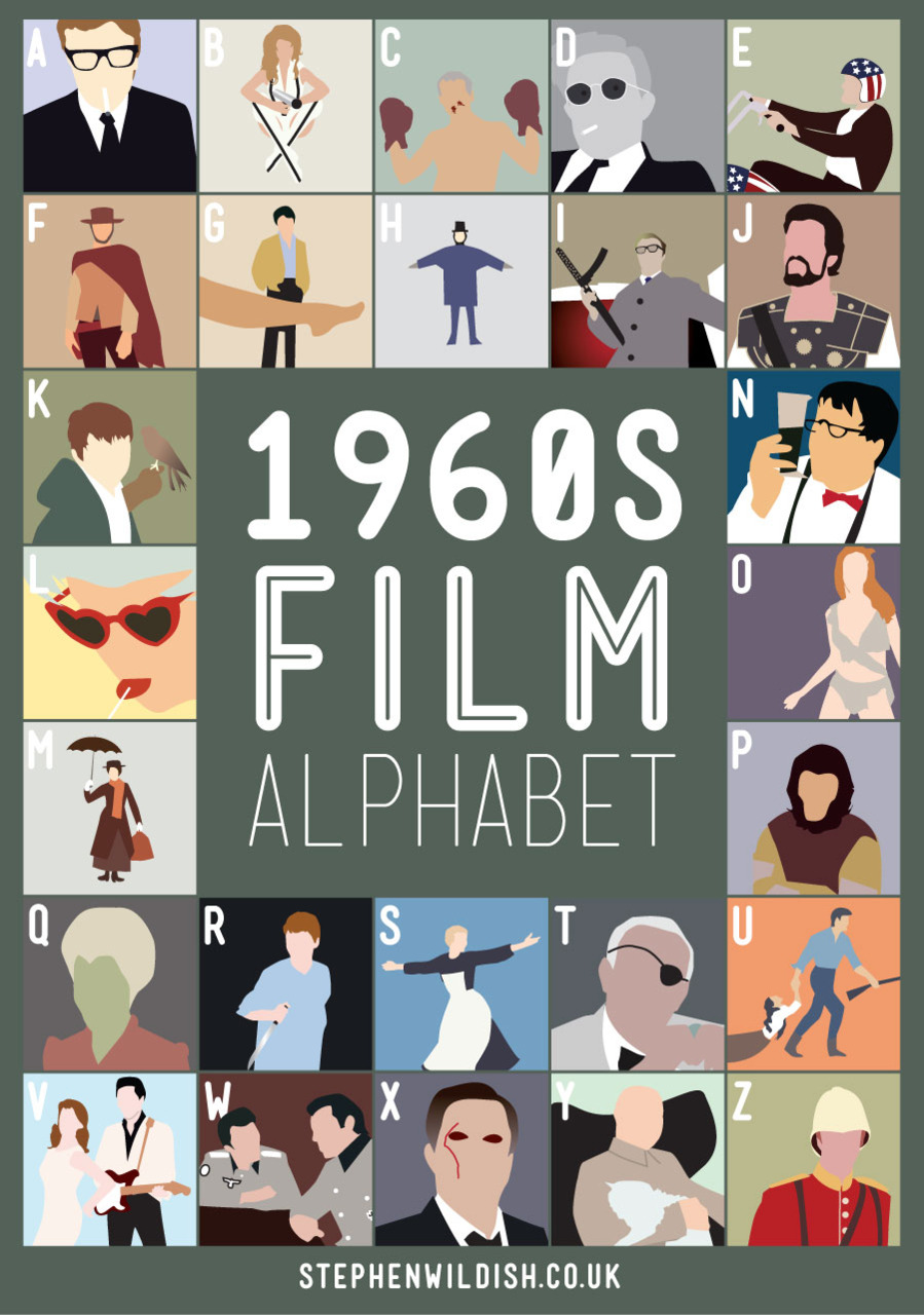movies that start with the letter e 1960 s alphabet poster that quizzes your 1960s 12239 | 60s