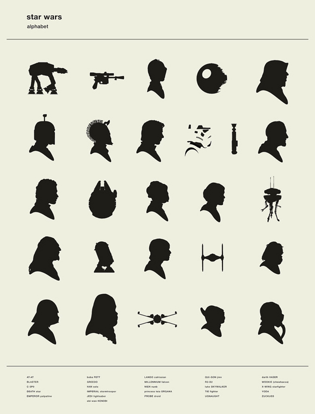 Star Wars Silhouette Alphabet Pixar Character Silhouettes