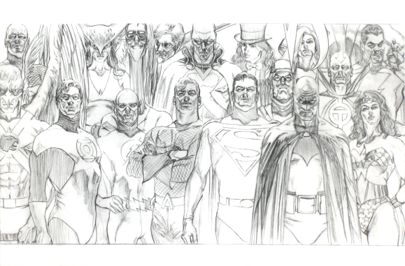 Justice League Sketch Alex Ross Sketchbook 2011 SDCC (p16-17)