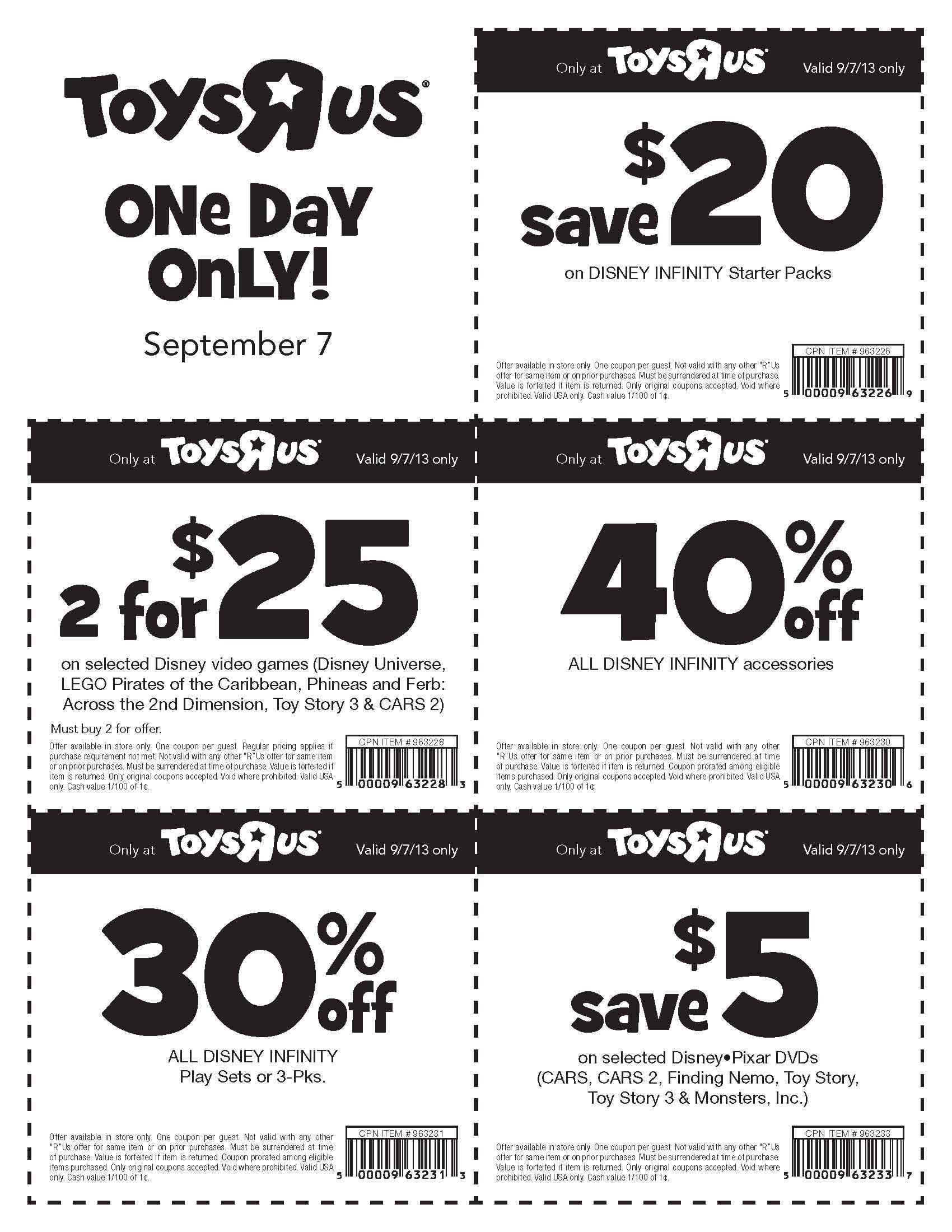 photograph relating to Printable Toys R Us Coupons called Toys R Us National Towards Host Disney Infinity Ability Disc