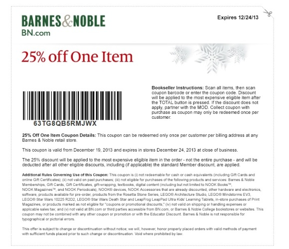 Barnes-Nobles-December-2013-Christmas-25-LEGO-Coupon
