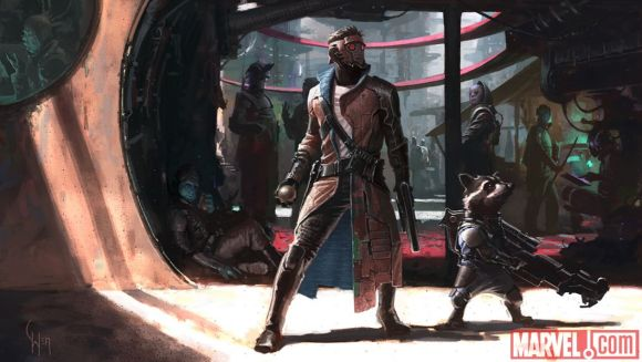 arly concept art of Peter Quill and Rocket Raccoon from Marvel's Guardians of the Galaxy