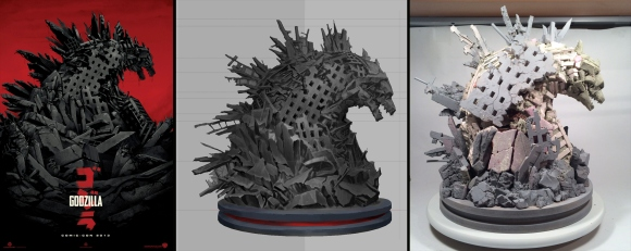 Godzilla_Sculpture-Progression