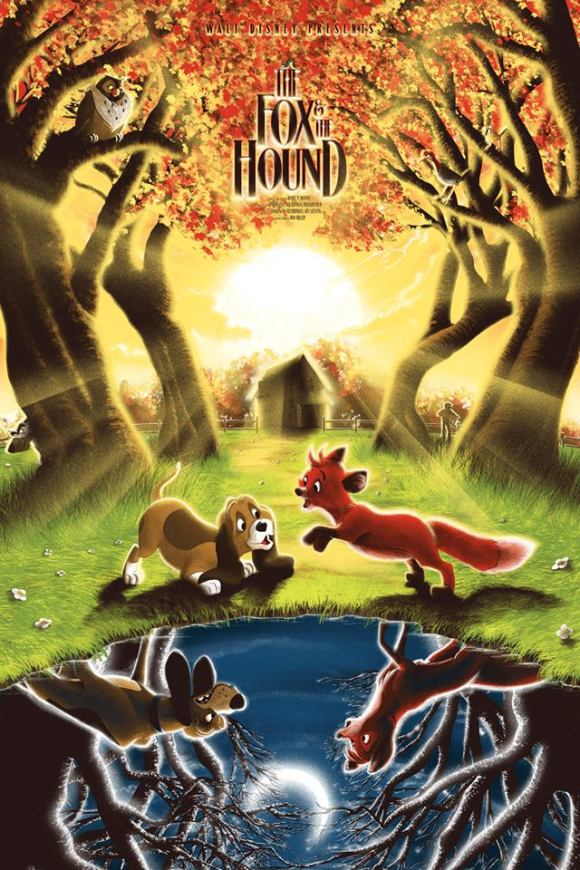 the fox and the hound commissioned poster by tom miatke