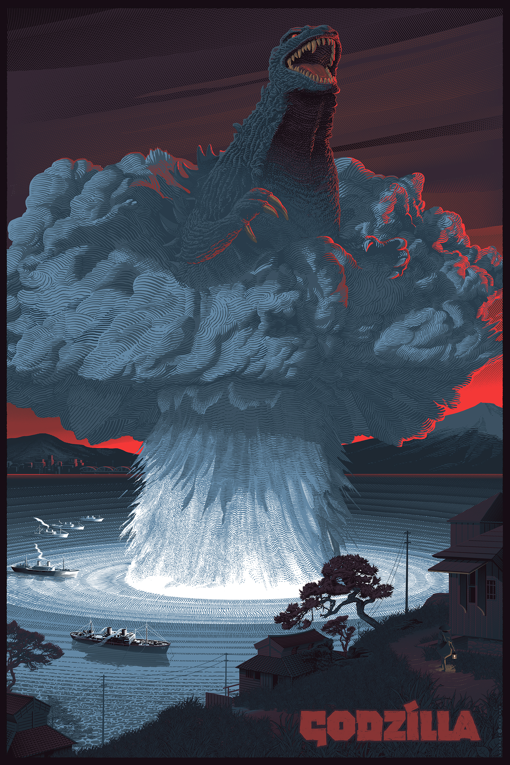 godzilla standard print by laurent durieux 24 x 36 edition of 350 65 godzilla select foil edition of 20 based on std artwork 150 - Godzilla Pictures To Print