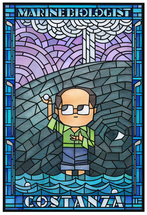 Stained glass portrayal of George Costanza holding a golf ball