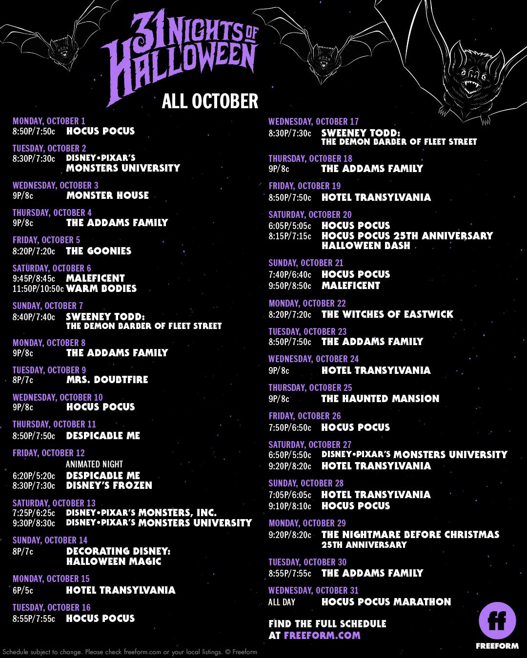 the official 31 nights of halloween 2018 movie schedule