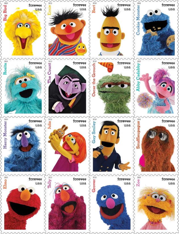 U S Postal Service Reveals Sesame Street Stamps For 2019